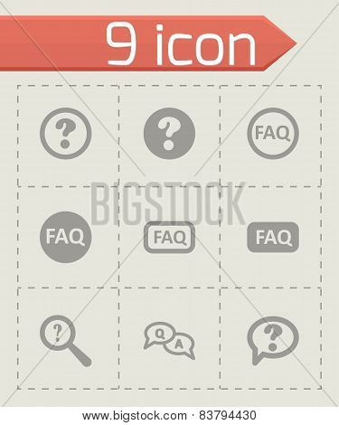 Vector black faq icon set