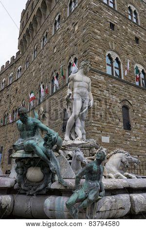 Neptune Fountain Near Vecchio Plaza