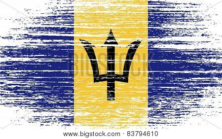 Flag Of Barbados With Old Texture. Vector