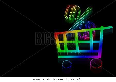 Neon Symbol Percent Discounts And A Shopping Cart