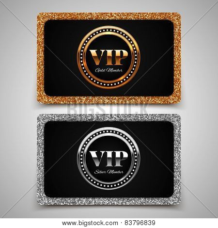 Gold And Silver Vip Premium Member Cards With Glitter, Gift, Voucher, Certificate, Vector Illustrati