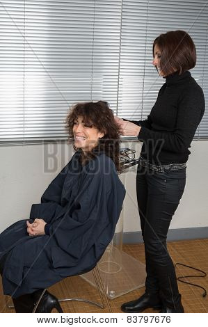 Woman at hairdresser beauty salon