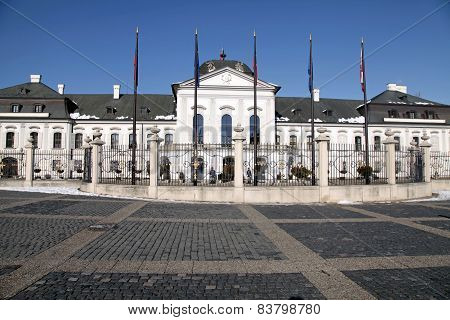 Grassalkovich Palace In Bratislava, The Residence Of The President Of Slovakia.