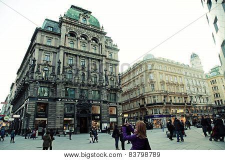 Main Shopping Graben Street In Vienna, Austria.