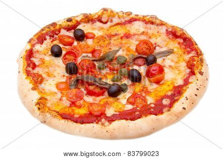 Pizza with anchovies and olives