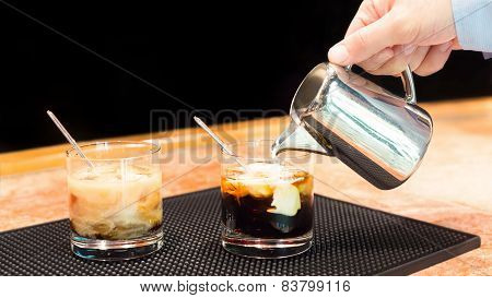 Preparation Of White Russian Cocktails