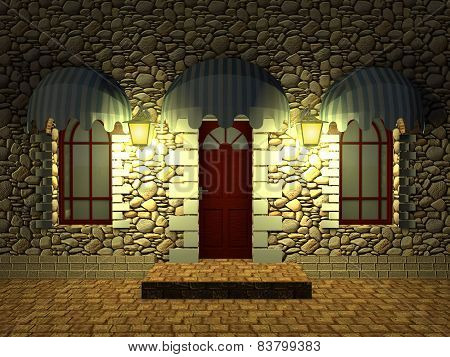 Front Door Of An Old Building And The Windows Under Canopies Of Textiles At Night.