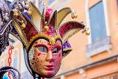 foto of venice carnival  - Typical carnival mask in Venice Veneto Italy - JPG