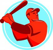 foto of hitter  - Illustration of an american baseball player batter hitter holding bat batting looking up to the side set inside circle on isolated background done in retro style - JPG