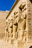 foto of ramses  - Ancient egyptian statues in the mortuary Temple of Ramses III - JPG
