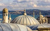 stock photo of rabies  - Vew of Istanbul from the Sueymaniye Mosque  - JPG