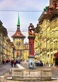 picture of samson  - Fountain on the Kramgasse street in the Old City of Bern  - JPG