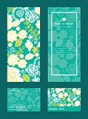 stock photo of emerald  - Vector emerald flowerals vertical frame pattern invitation greeting - JPG