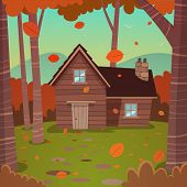 stock photo of wooden shack  - Cartoon illustration of the autumn forest landscape with wooden cabin - JPG