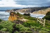 stock photo of marines  - Coastal cliff along the pacific ocean in the small town of Bolinas in Marin County of Northern California