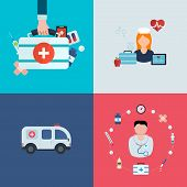 stock photo of ambulance car  - Flat design modern vector illustration concept for health care - JPG