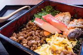 stock photo of lunch box  - Japanese Lunch Box On Wooden Black in table