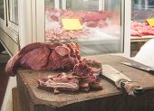picture of piraeus  - Meat in authentic market - JPG