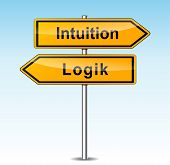 stock photo of intuition  - illustration of intuition and logic signs  - JPG