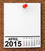 picture of blank  - Calendar April 2015 on blank note paper with free space for your text - JPG