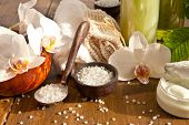 pic of bath sponge  - Bath salts and other skin care products with fresh orchids - JPG