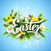 pic of easter flowers  - Title Easter with spring flowers - JPG