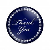 foto of thankful  - Thank You Button A blue button with snowflakes with words Thank You isolated on a white background - JPG