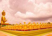 image of buddha  - Golden Buddha at Buddha Memorial park Nakorn nayok Thailand - JPG