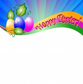 picture of risen  - Background for Easter with colored eggs and green leaves - JPG