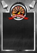 stock photo of italian flag  - Blackboard with metal frame symbol with pizza slices Italian flag and red ribbon with text Italy pizza - JPG