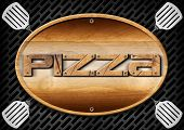 image of oval  - Oval wooden signboard with text pizza and four spatulas on a dark metallic grill - JPG