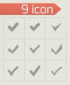 stock photo of confirmation  - Vector black confirm icon set on grey background - JPG