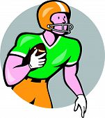 picture of scat  - Illustration of an american football gridiron player holding ball rusher running looking to the side set inside circle on isolated background done in cartoon style - JPG