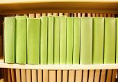 image of book-shelf  - Row of colorful green books with no titles - JPG