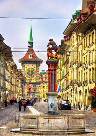 stock photo of samson  - Fountain on the Kramgasse street in the Old City of Bern  - JPG
