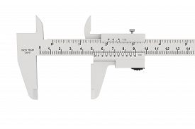 picture of micrometer  - Metal vernier caliper on a white background - JPG
