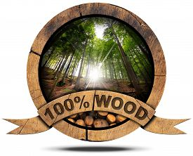 foto of cutting trees  - Wooden icon with trunks of trees cut and green forest with sun rays wooden ribbon and text 100 - JPG