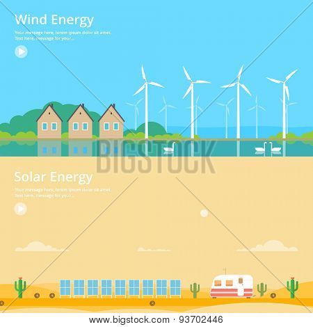 Colorful vector flat banner set. Quality design illustrations, elements and concept - Solar energy, Wind energy, Eco energy