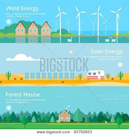 Colorful vector flat banner set. Quality design illustrations, elements and concept - Solar energy, Wind energy, Ecology,