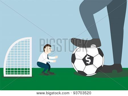 Businessman With Football And Goalkeeper