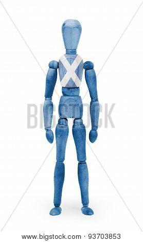 Wood Figure Mannequin With Flag Bodypaint - Scotland