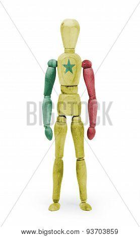 Wood Figure Mannequin With Flag Bodypaint - Senegal