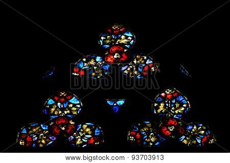 Stained Glass Window Detail With Biblical Scene