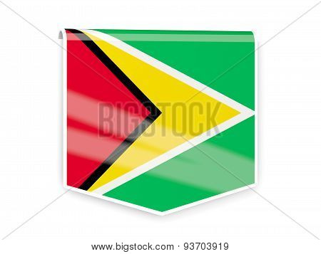 Flag Label Of Guyana