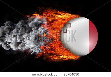 Flag With A Trail Of Fire And Smoke - Malta