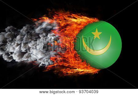 Flag With A Trail Of Fire And Smoke - Mauritania