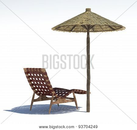 Parasol And Sun Bed On A Light Background