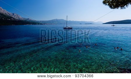 Beach With Clear Blue Water At Korcula Croatis