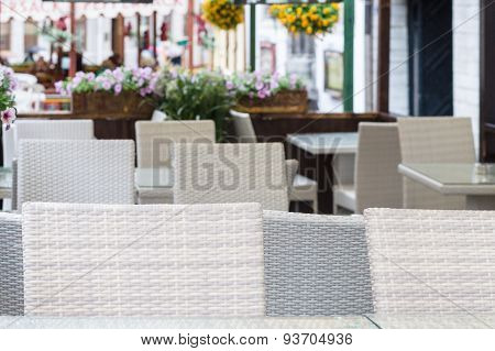Blurred Background Of Outdoor Modern Cafe Terrace