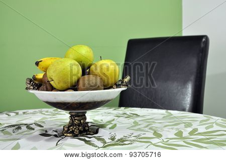 Juicy Fruits In A Bowl On The Table